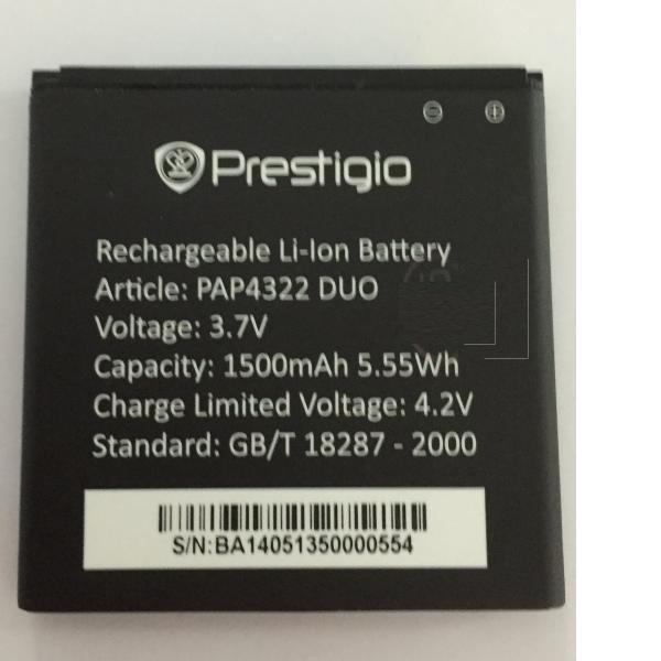 Bateria Original para Prestigioy 1500mAh Li-Ion for Multiphone 4322DUO