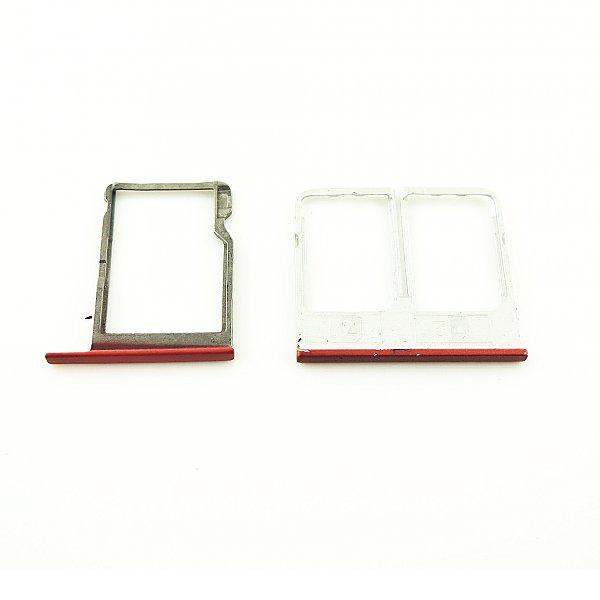Bandeja de Tarjeta SIM y MicroSD para HTC One E8 DUAL - Roja