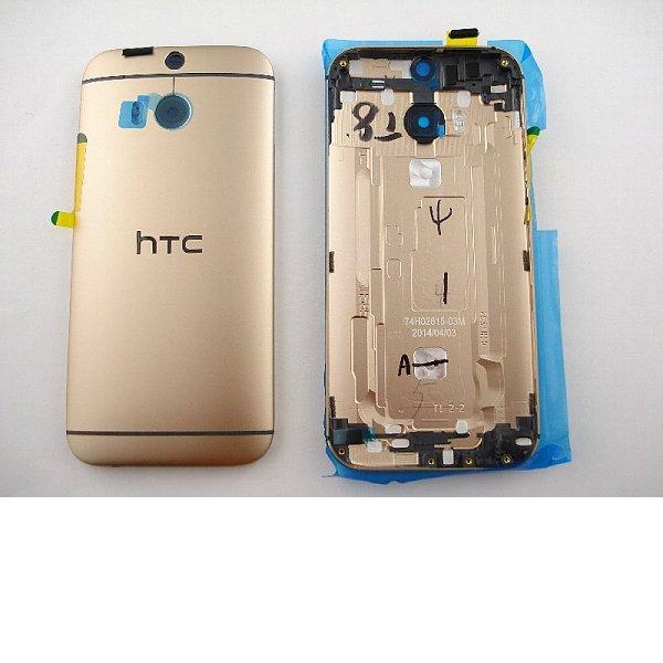 Carcasa Tapa Trasera de Bateria Original con Lente para HTC ONE M8 - Oro