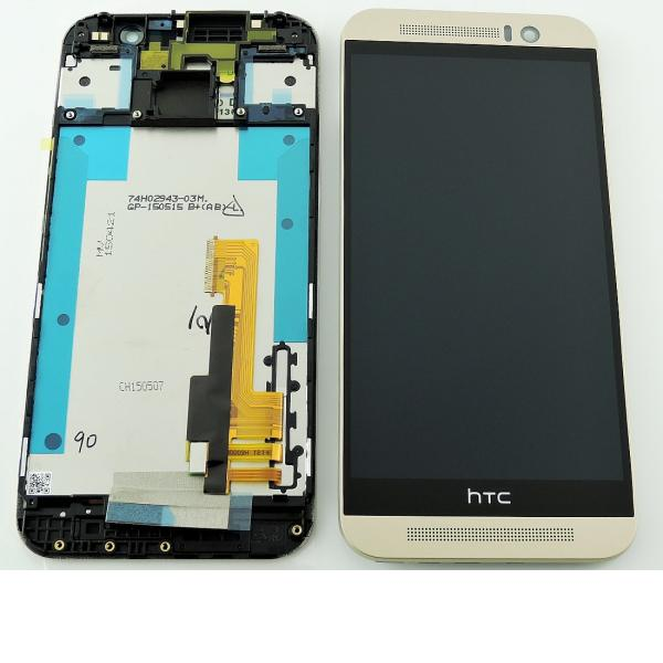 Pantalla Tactil + LCD Display con Marco Original para HTC One M9 - Oro