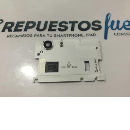 Carcasa Intermedia Con Lente De Camara Original Wiko Ridge 4G Blanca - Recuperada