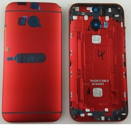 Carcasa Tapa Trasera de Bateria Original con Lente para HTC ONE M8 - Rojo
