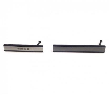 Set de Tapaderas de Tarjeta MicroSD y Conector de Carga Micro USB para Sony Xperia Z2 D6502, D6503 - Negra