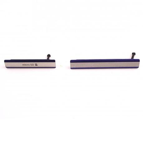 Set de Tapaderas de Tarjeta MicroSD y Conector de Carga Micro USB para Sony Xperia Z2 D6502, D6503 - Lila
