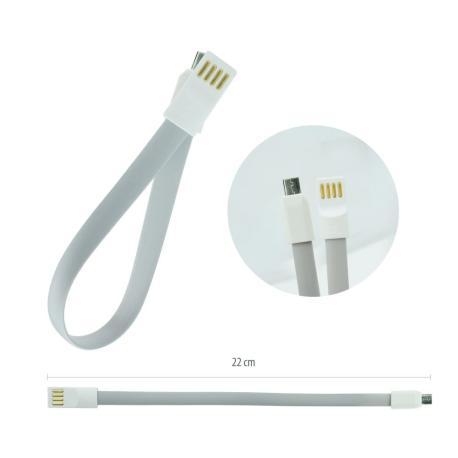 CABLE USB IMAN PARA MOVILES CON CONECTOR DE CARGA MICRO USB 20 CM - NEGRO