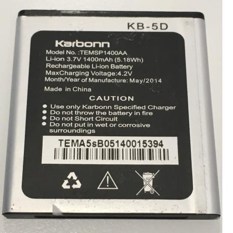 BATERIA TEMSP1400AA ORIGINAL PARA  KARBONN A5S DE 1400MAH - RECUPERADA
