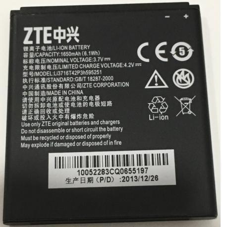 Bateria Original Li3716T42P3h595251 para ZTE N798 U808 de 1650mAh