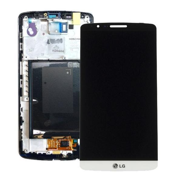 PANTALLA LCD DISPLAY + TACTIL CON MARCO ORIGINAL PARA LG G3 D855 BLANCA - RECUPERADA