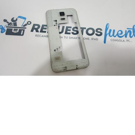 CARCASA INTERMEDIA + BUZZER+JACK AUDIO+ANTENA+ALTAVOZ ORIGINAL SAMSUNG GALAXY S5 I9600 G900F PLATA - RECUPERADA