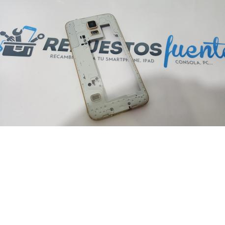 CARCASA INTERMEDIA + BUZZER+JACK AUDIO+ANTENA+ALTAVOZ ORIGINAL SAMSUNG GALAXY S5 I9600 G900F ORO - RECUPERADA