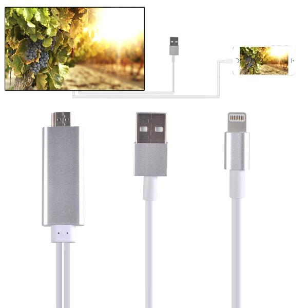 CABLE ADAPTADOR HDMI TV HDTV Y CABLE USB 1080P PARA IPHONE 5C, 5S, SE, 6, 6 PLUS, 6S, 6S PLUS