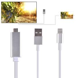 CABLE ADAPTADOR HDMI TV HDTV Y CABLE USB 1080P PARA IPHONE 5C, 5S, SE, 6, 6 PLUS, 6S, 6S PLUS