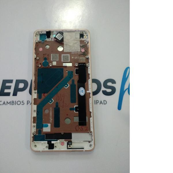 PANTALLA LCD DISPLAY + TACTIL CON MARCO DORADO PARA BQ AQUARIS X5 - BLANCA - ROSA