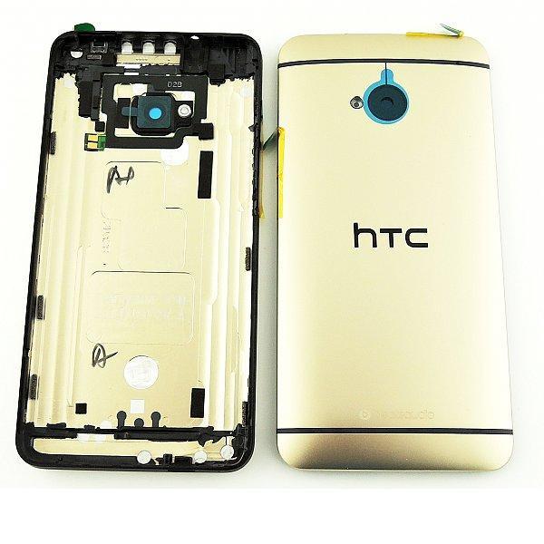 TAPA TRASERA DE BATERIA CON LENTE DE CAMARA PARA HTC ONE M7 - ORO