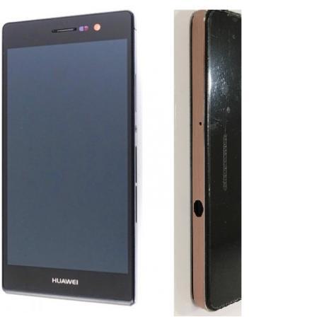 PANTALLA LCD DISPLAY + TACTIL NEGRO CON MARCO ROSA PARA HUAWEI ASCEND P7