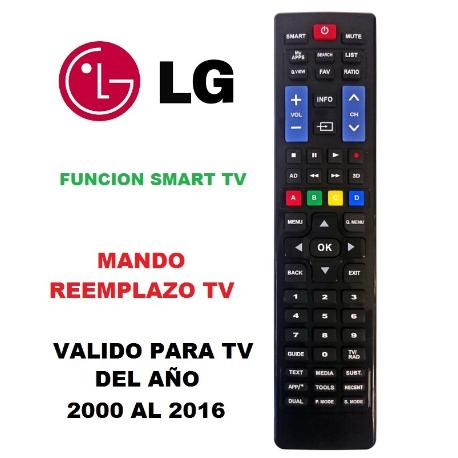 MANDO A DISTANCIA COMPATIBLE PARA TV LG FABRICADAS APARTIR DEL AÑO 2000 - 2016