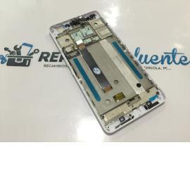PANTALLA LCD + TACTIL CON MARCO ORIGINAL BQ AQUARIS M5.5 BLANCA - RECUPERADA