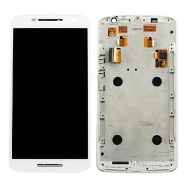 PANTALLA TACTIL + LCD DISPLAY CON MARCO MOTOROLA X PLAY X3 XT1562 XT1563 BLANCO - RECUPERADA