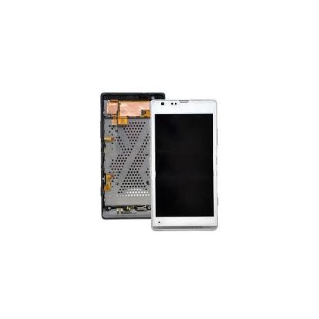 Repuesto pantalla lcd + tactil con marco Original Sony Xperia SP C5303 C5302 M35H blanca de Desmontaje