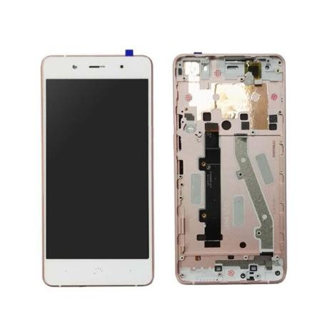 "PANTALLA LCD DISPLAY + TACTIL CON MARCO ORIGINAL PARA BQ AQUARIS X5 - BLANCA - ROSA ""RECUPERADA"""