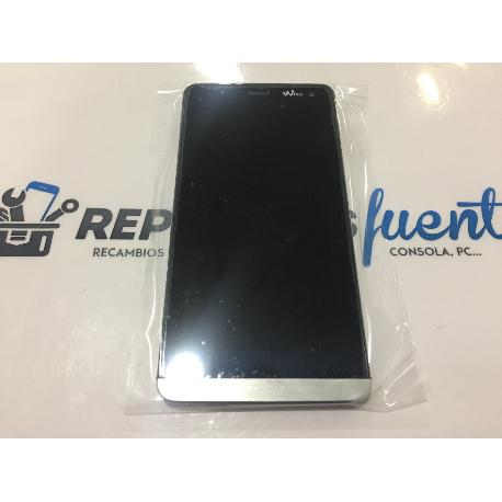 PANTALLA LCD DISPLAY + TACTIL CON MARCO WIKO GETAWAY PLATA - RECUPERADA