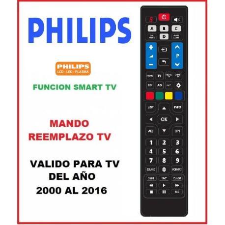 MANDO A DISTANCIA TELEVISION TV TELEVISOR PHILIPS FABRICADOS DEL AÑO 2000 AL 2016 - REEMPLAZO