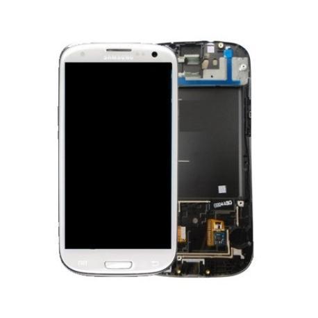 PANTALLA LCD + TACTIL CON MARCO ORIGINAL SAMSUNG I9300 GALAXY S3 BLANCA - USADA