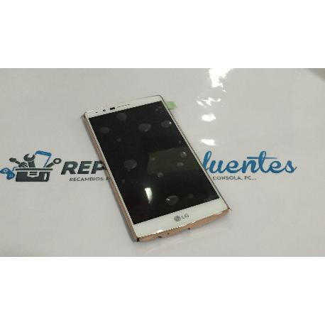 PANTALLA TACTIL + LCD DISPLAY CON MARCO ORIGINAL PARA LG G4 H815, G4 DUAL H818 BLANCO / ORO - RECUPERADA