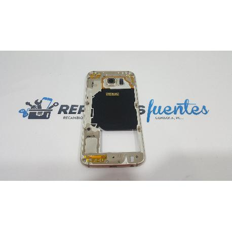 CARCASA INTERMEDIA CON LENTE ORIGINAL PARA SAMSUNG GALAXY S6 SM-G920 DORADA - RECUPERADA