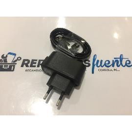 CARGADOR + CABLE USB ORIGINAL LEOTEC TITANIUM PRINT 4G LTE - RECUPERADO