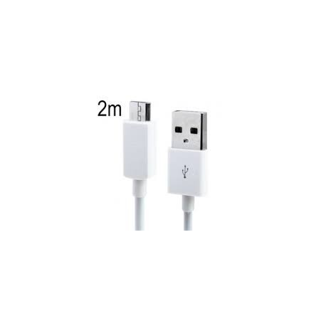 Cable de datos Micro USB blanco 2 metros