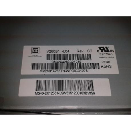 """BLOQUE PANTALLA LCD PANEL 26"""" V260B1-L04 REV.C2 PARA TV SAMSUNG LE26A336J1D - RECUPERADO"""