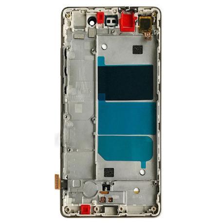 REPUESTO PANTALLA LCD + TACTIL CON MARCO PARA HUAWEI ASCEND P8 LITE - ORO