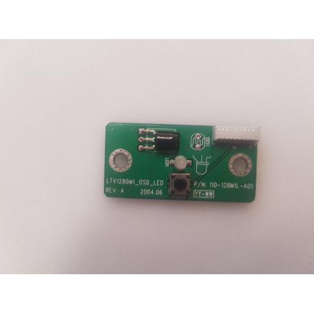PLACA SENSOR IR + LUZ LED DE ENCENDIDO + BOTON DE POWER 110-128M1L-A01 PARA TV TARGA VISIONARY - RECUPERADA