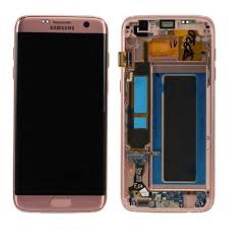 PANTALLA LCD + TACTIL CON MARCO ORIGINAL SAMSUNG GALAXY S7 EDGE SM-G935F ROSA - RECUPERADA