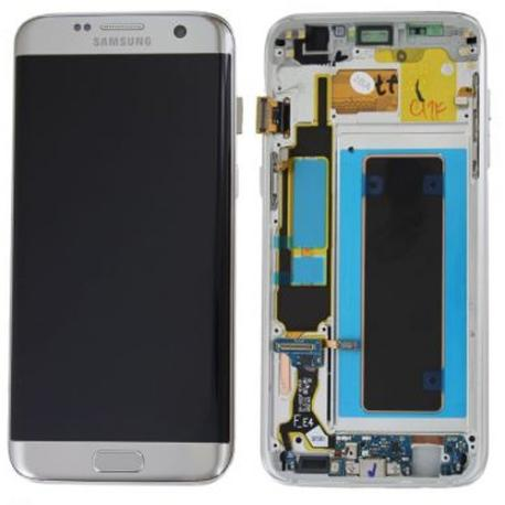 PANTALLA LCD + TACTIL CON MARCO ORIGINAL SAMSUNG GALAXY S7 EDGE SM-G935F PLATA - RECUPERADA
