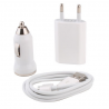Cargador Red + Mechero Coche + USB iphone 4G 3-1 Blanco