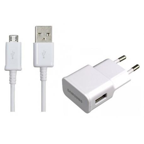 Cargador Red Micro USB Original Samsung EP-TA10EWE con Cable de Datos Blanco