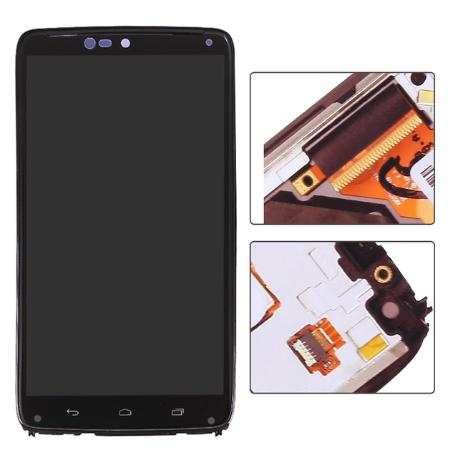 PANTALLA LCD DISPLAY + TACTIL CON MARCO PARA MOTOROLA DROID TURBO XT1254 - NEGRA