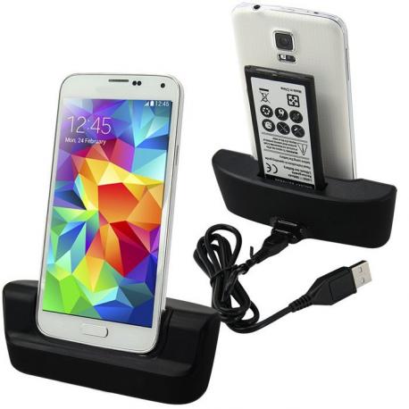 Base dual cargador para Samsung Galaxy S5 negra