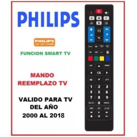 MANDO A DISTANCIA TELEVISION TV TELEVISOR PHILIPS FABRICADOS DEL AÑO 2000 AL 2018 - REEMPLAZO