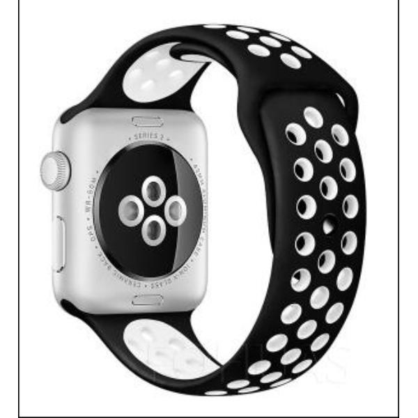 CORREA DEPORTIVA PARA APPLE WATCH - 42 MM - BLANCA / NEGRA