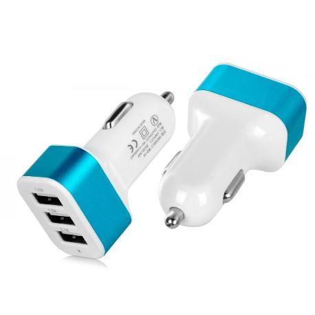 CARGADOR TRIPLE USB PARA COCHE CON SALIDA DE 3.1A