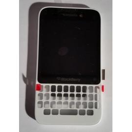Pantalla lcd + Tactil con marco Carcasa Original BlackBerry Q5 001/111 Blanca