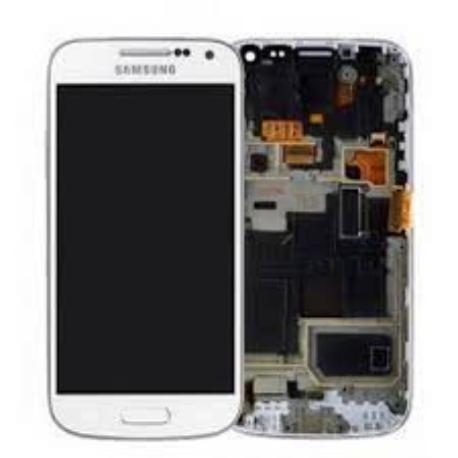 9e75e0af6e3 PANTALLA LCD + TACTIL CON MARCO ORIGINAL SAMSUNG GALAXY S4 MINI I9195 BLANCA  - RECUPERADA