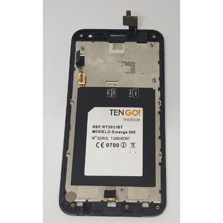 PANTALLA LCD DISPLAY + TACTIL CON MARCO ORIGINAL PARA TENGO EMERGE 500 NEGRA - RECUPERADA