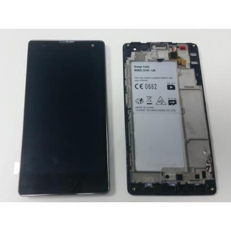 Pantalla Lcd + Tactil con Marco Original Huawei G740 Orange Yumo Negra