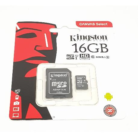 TARJETA DE MEMORIA DE 16 GB CLASE 10 MICRO SD KINGSTON