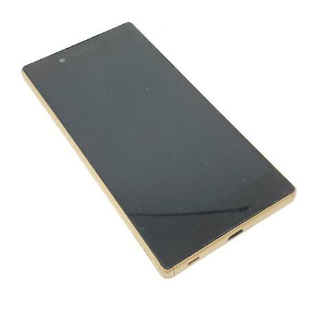 PANTALLA LCD DISPLAY + TACTIL CON MARCO DORADO ORIGINAL PARA SONY XPERIA Z5 E6603, E6653 - NEGRA - ORO DESMONTAJE
