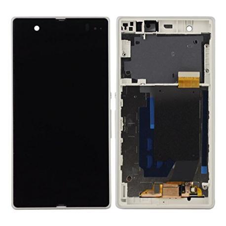 PANTALLA LCD DISPLAY + TACTIL CON MARCO ORIGINAL PARA SONY XPERIA Z C6603 L36H  BLANCA - RECUPERADA